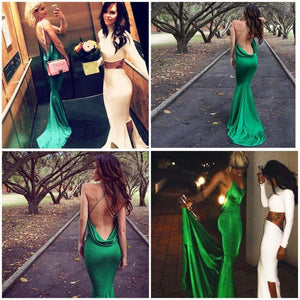 New Style Mermaid Backless Prom Dresses Elegant Green Open Back Evening Gowns For Teens RS82
