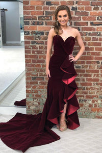 Modest Sheath Burgundy Sweetheart Long Open Back Party Prom Dresses
