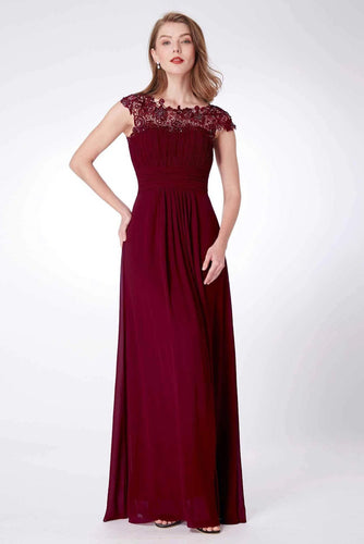Elegant A Line Cap Sleeve Burgundy Lace Prom Dresses with Chiffon, Bridesmaid Dresses SRS15145