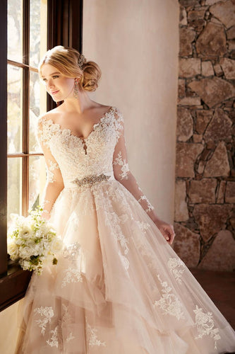 2019 New Arrival V Neck Long Sleeves Tulle With Applique Wedding Dresses A Line