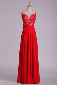 2019 Prom Dresses A Line Spaghetti Straps Chiffon With Applique Floor Length