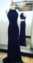 Load image into Gallery viewer, Sexy Navy Blue Long Chiffon Halter Mermaid Sleeveless Floor-Length Scoop Prom Dresses RS823