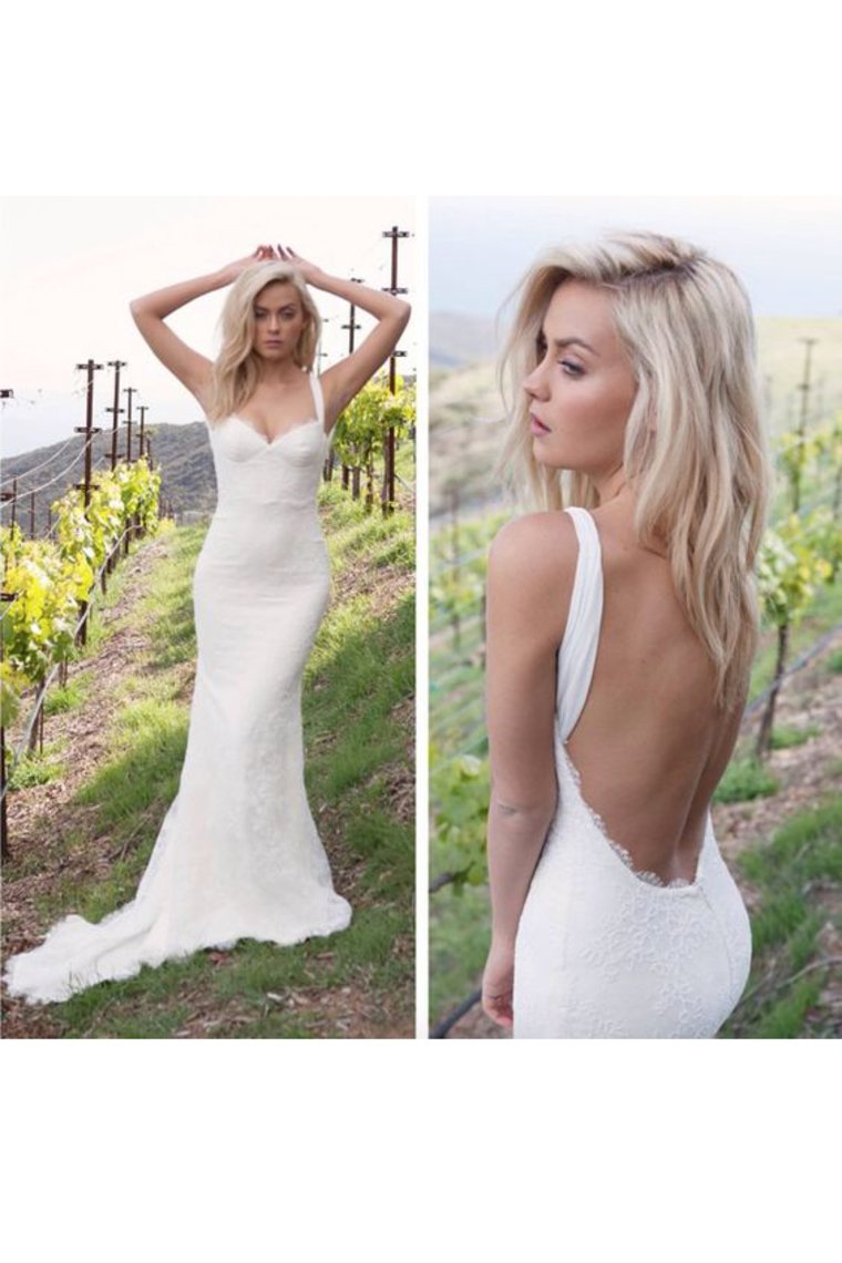 2019 Sexy Open Back Straps Mermaid Lace Sweep Train Wedding Dresses