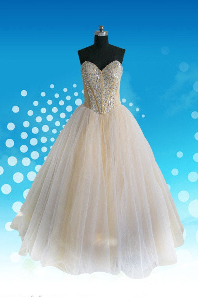 2020  A Line Sweetheart Floor Length Organza Beaded Prom Dress