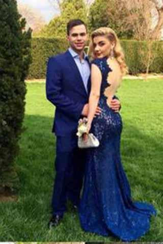 lace evening dress mermaid Prom dress backless prom dress floor-length prom dress BD1015