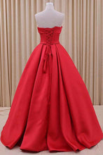 Load image into Gallery viewer, 2019 New Arrival Strapless Prom Dresses A Line Satin With Sash