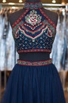 Cute Short A-Line Glitter Navy Blue Backless Sexy Fashion Two Pieces Homecoming Dresses RS38