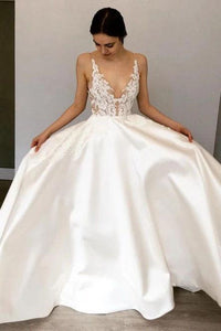 Simple A-Line Deep V Neck Satin Ivory Wedding Dress with Lace Appliques SRS15387