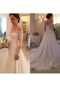 2019 Wedding Dresses A Line Long Sleeves Tulle With Applique And Sash