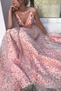 2019 Elegant Pink  V Neck  Floral Lace Long Prom Dresses Spaghetti Strap Formal Dress