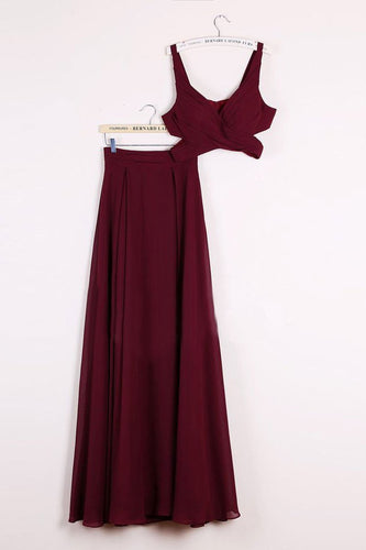 Elegant Two Pieces A-line V Neck Floor-length Burgundy Chiffon Cheap Prom Dresses RS671