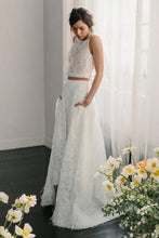 Load image into Gallery viewer, Two Piece Crew Sleeveless Sweep Train Open Back Ivory Lace Cheap Wedding Dresses RS206