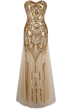 Load image into Gallery viewer, Unique Mermaid Gold Tulle Sequins Sweetheart Strapless Lace up Bridesmaid Dresses RS49