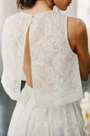 Two Piece Crew Sleeveless Sweep Train Open Back Ivory Lace Cheap Wedding Dresses RS206