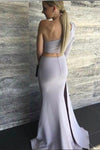Sexy Mermaid One Shoulder Grey Slit Satin Long Zipper Prom Dresses RS63