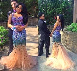 Sexy Elegant Mermaid Tulle Crystals Two Pieces V-Neck Luxurious Long Prom Dresses RS448