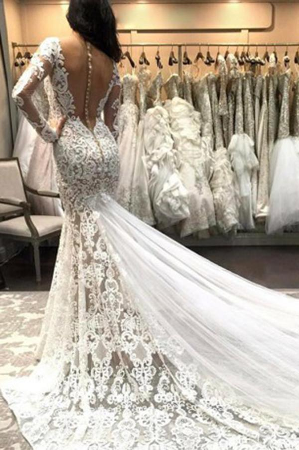 Mermaid V Neck Illusion Back Long Sleeves Ivory Tulle Court Train Wedding Dress with Lace RS845
