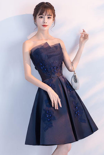 Navy Blue Beads Appliques Strapless A-Line Lace up Homecoming Dress Graduation Dress RS573