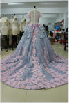 Pretty Light Blue Ball Gown Long Backless Wedding Gowns Quinceanera Dresses RS01