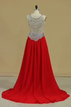 Load image into Gallery viewer, 2019 Scoop Prom Dresses A Line Beaded Bodice Court Train Chiffon