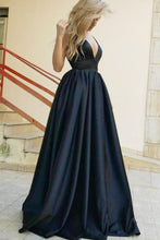 Load image into Gallery viewer, Empire Waist Deep V-Neck Long A-Line Navy Blue Simple Cheap Prom Dresses
