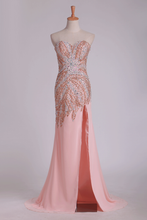 Load image into Gallery viewer, 2019 New Arrival Beaded Bodice  Chiffon With Slit Sheath Sweep Train Prom Dresses