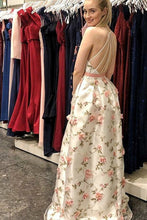 Load image into Gallery viewer, 2019 A Line V Neck Spaghetti Straps Flower Lace Long Prom Dresses Party Dresses