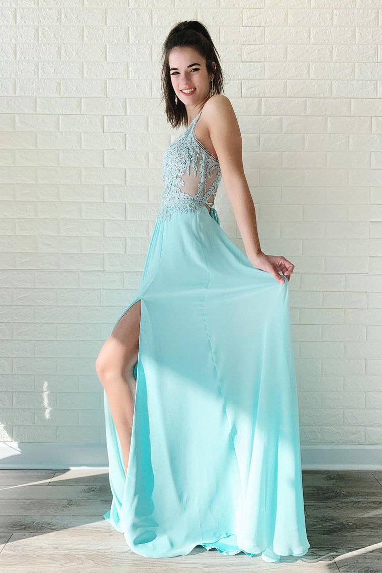2019 Chiffon Prom Dresses With Applique Sweep Train Spaghtti Straps