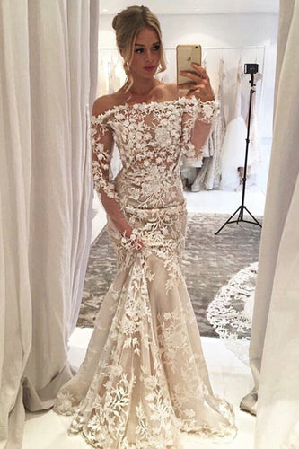Sheath Mermaid Long Boat Neckline Lace Wedding Dresses With Sleeves