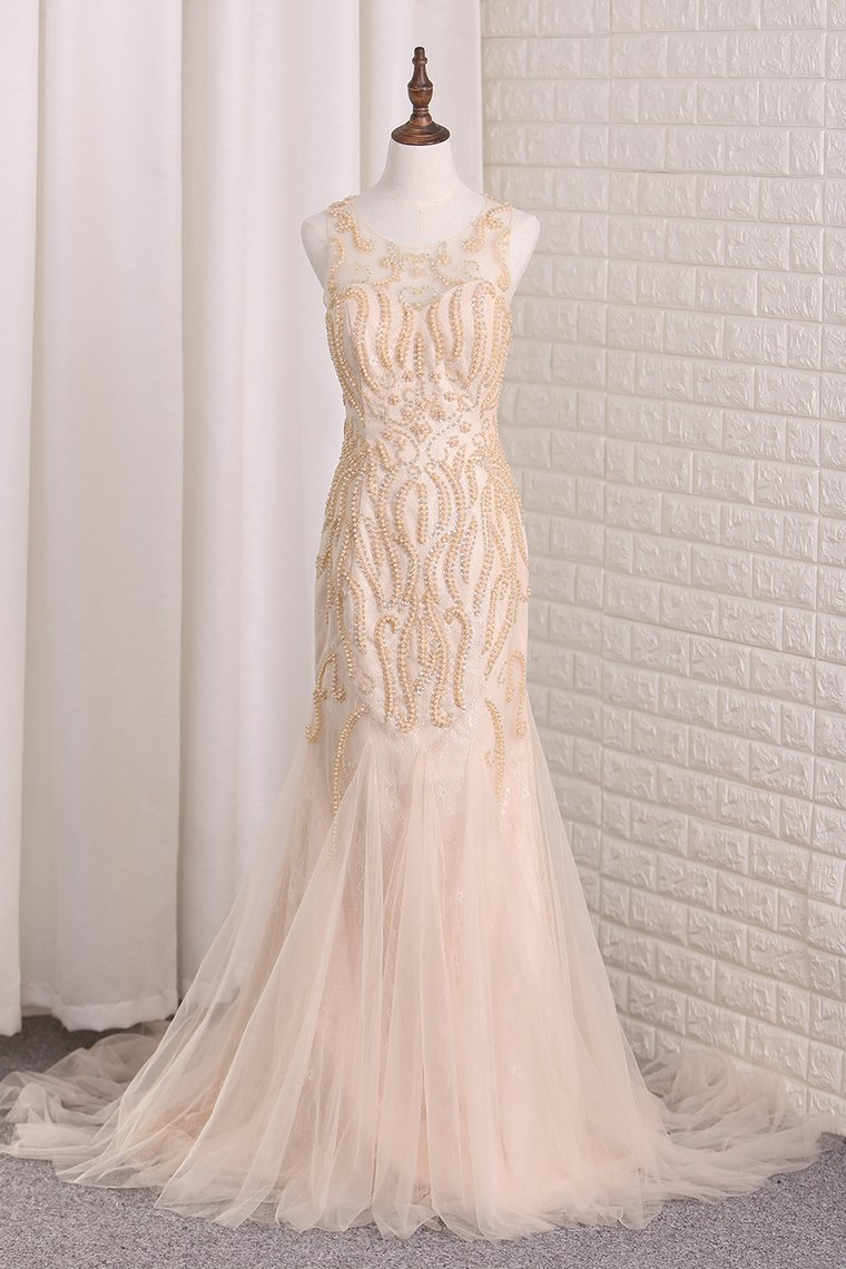 2019 Tulle Mermaid Scoop Prom Dresses Beaded Bodice Sweep Train