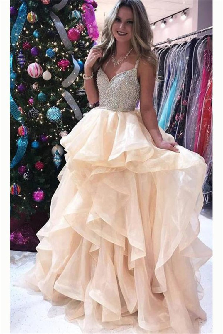 Newest Spaghetti Straps Ball Gown Beading Champagne Princess Prom Dresses Quinceanera Dresses