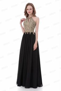 Classy Formal Lace Chiffon Black And Gold Long Prom Dresses Prom Gowns