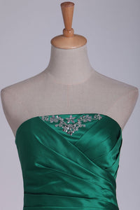 New Arrival Bridesmaid Dresses Strapless A Line Satin With Beads And Ruffles Floor Length