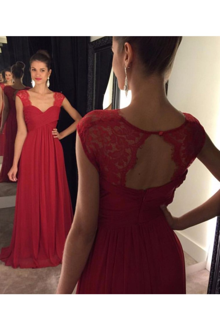 2019 Chiffon Evening Dresses A Line Straps Open Back With Ruffles Sweep Train