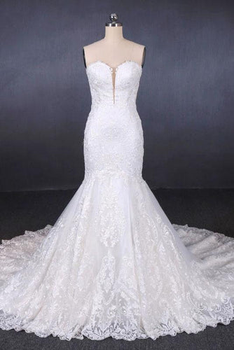 Charming Strapless Sweetheart Mermaid Lace Appliques White Wedding Dresses SRS15128