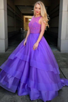 2019 Scoop A-Line Prom Dress Sweep Train Lace Bodice Tulle