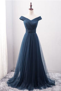 2019 Off The Shoulder A Line Prom Dresses Ruffled Bodice Tulle Sweep Train