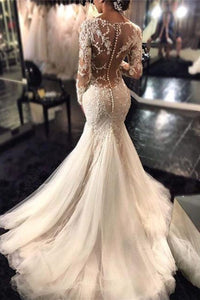 2019 V Neck Wedding Dresses Mermaid/Trumpet With Applique And Beads Sweep Train