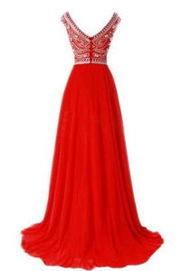Red Long Chiffon Silver Beaded Chiffon Gown With Cap Sleeves Burgundy Prom Dresses RS766