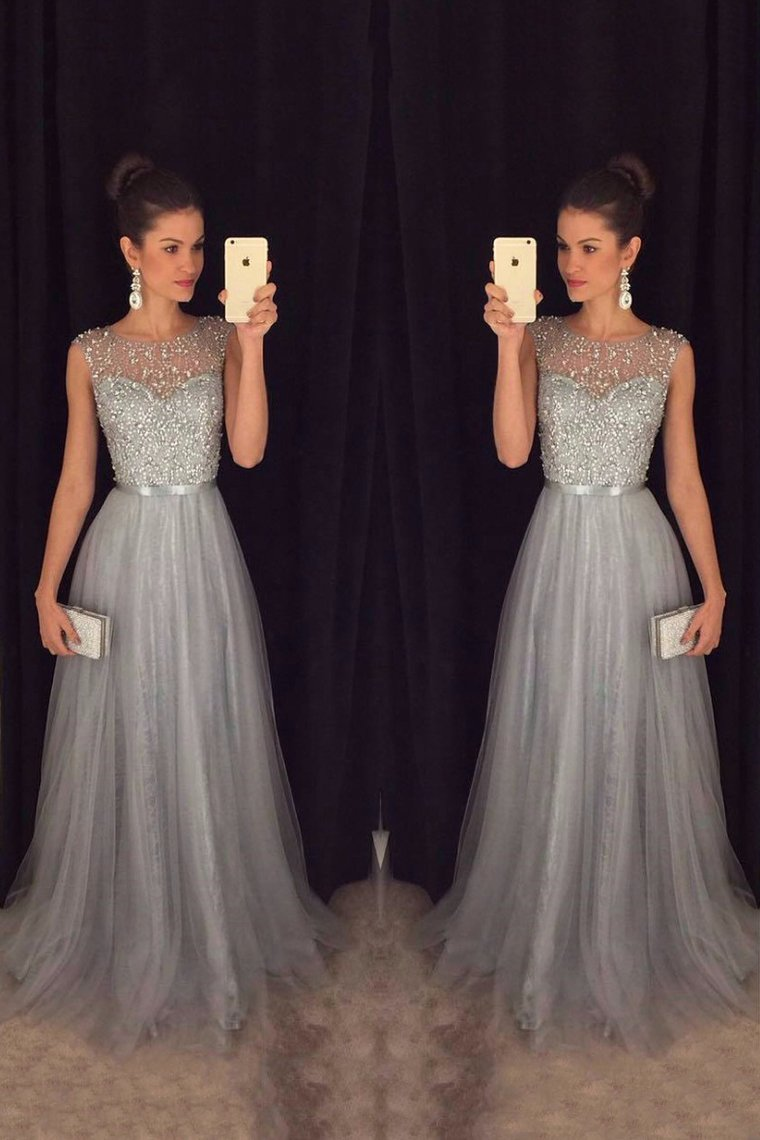 2019 Tulle Scoop A Line Prom Dresses With Sash And Beads Bodice