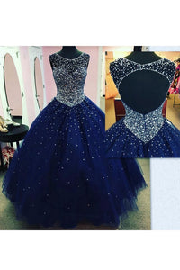 2019 Tulle Prom Dresses A Line Scoop With Beading Floor Length Open Back