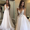 Sexy Spaghetti Straps V Neck A Line Tulle Ivory Backless Prom Dresses Wedding Dresses RS28
