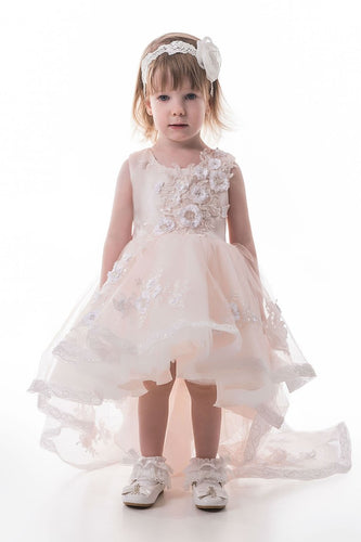 2019 Asymmetrical Scoop Tulle With Applique Flower Girl Dresses A Line