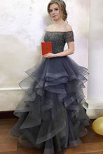 Load image into Gallery viewer, Modest Off The Shoulder Long Elegant Gray Beading Ball Gown Prom Dresses