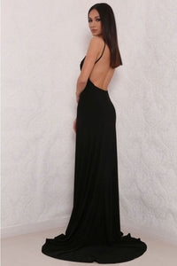 2019 Spandex Evening Dresses Spaghetti Straps Open Back With Slit Mermaid