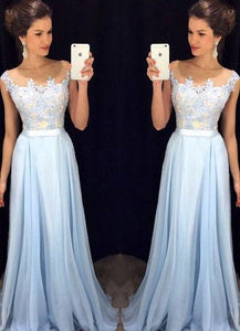 Scoop Sleeveless A-line Chiffon Long Prom Dress evening dresses RS849