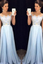 Load image into Gallery viewer, Scoop Sleeveless A-line Chiffon Long Prom Dress evening dresses RS849
