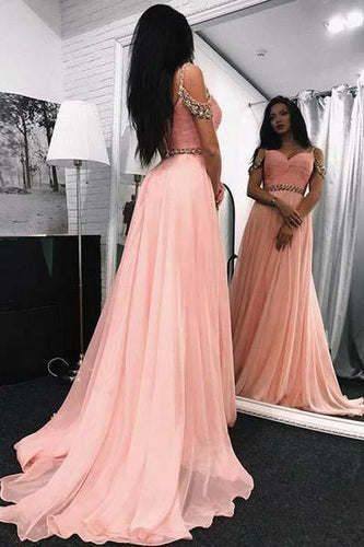 A Line Sweetheart Beads Off the Shoulder Long Chiffon Pink Prom Dresses RS369