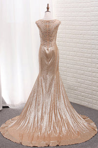 2019 Sequins Prom Dresses Scoop Mermaid With Beads Sweep Train