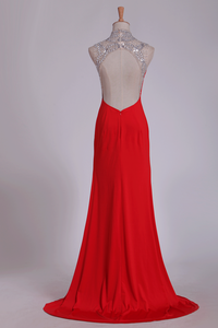 2019 Red High Neck Prom Dresses Sheath/Colum With Beading Sweep Train